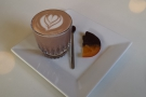 Single-origin hot chocolate and a slice of candied orange. It was gorgeous :-)