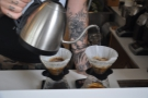 ... which turns out to be two differently processed Brazilian coffees as pour-overs.
