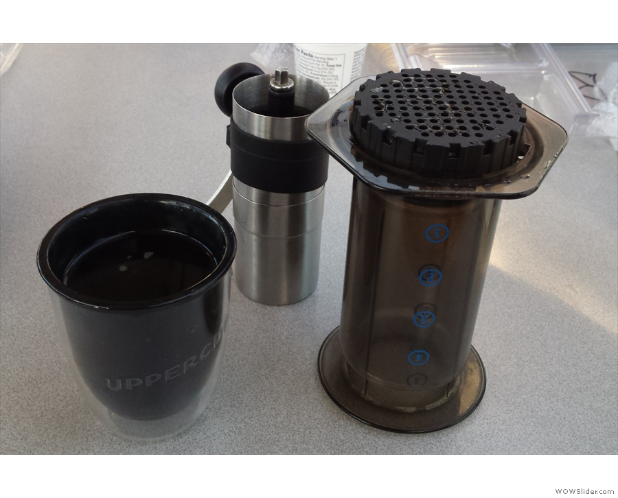 My Aeropress, along with Porlex mini-grinder and UpperCup, in action at breakfast.