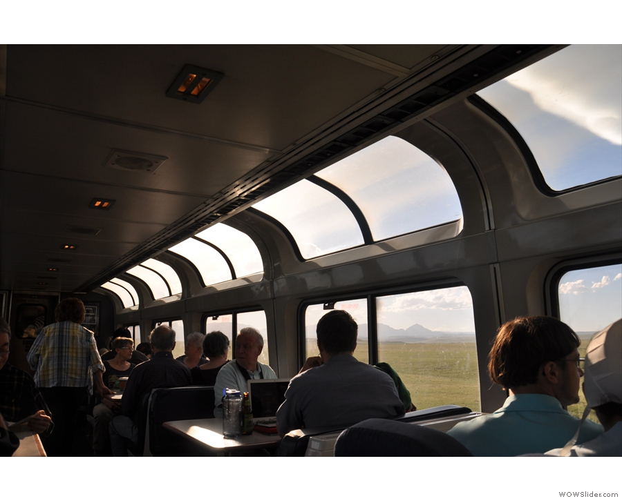 The observation deck, between the Seattle and Portland parts of the train.