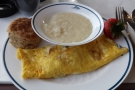 My breakfast omelette, with grits and a biscuit, was pretty good too.