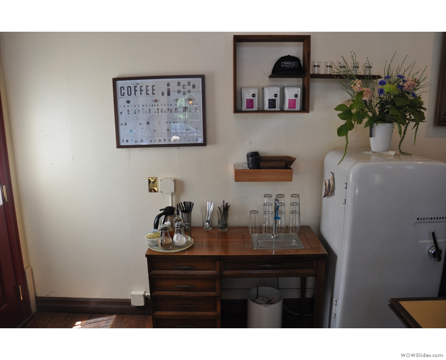 I even liked the takeaway station, which reuses an old bureau.
