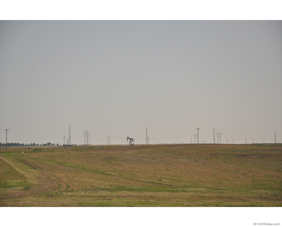 We also started to see these, lone oil wells, pumping away...