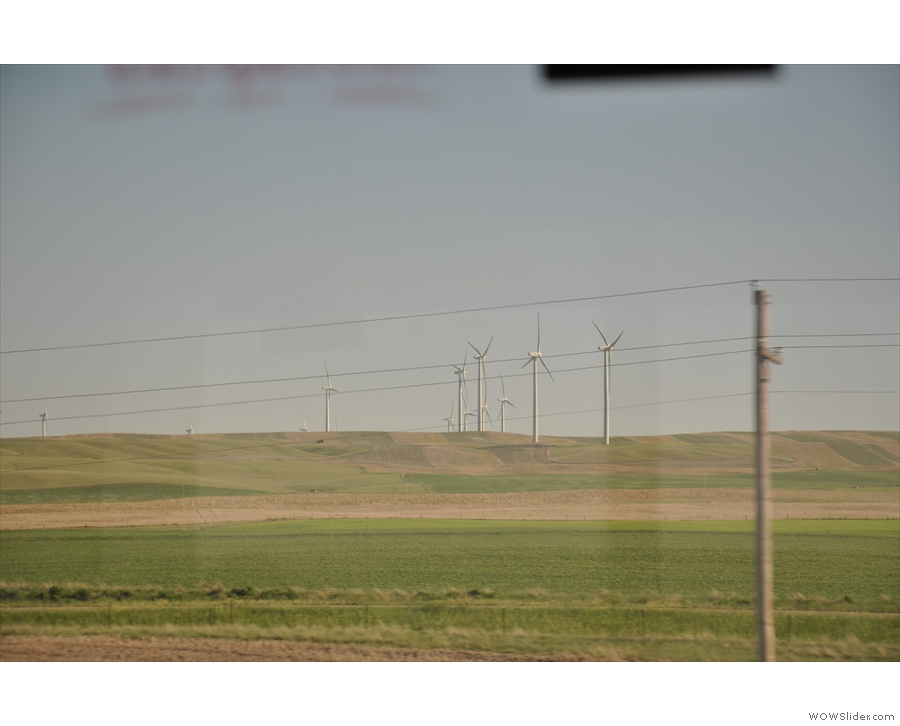 We saw a lot of these on our travels, gigantic wind farms, a counterpoint to all the oil.
