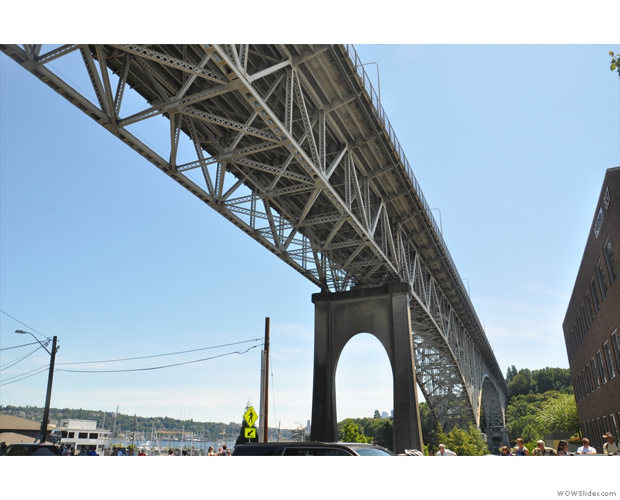 ... right under the Aurora Bridge, which soars high above as it spans Fremont Cut.