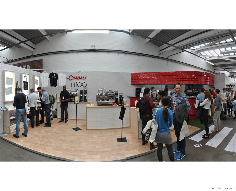 The La Cimbali stand in the main hall at the 2015 London Coffee Festival...