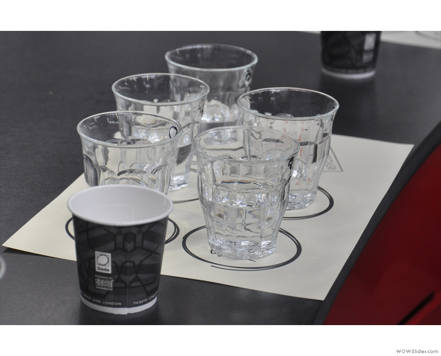 ... which is to arrange the glasses according to which taste element they represent.