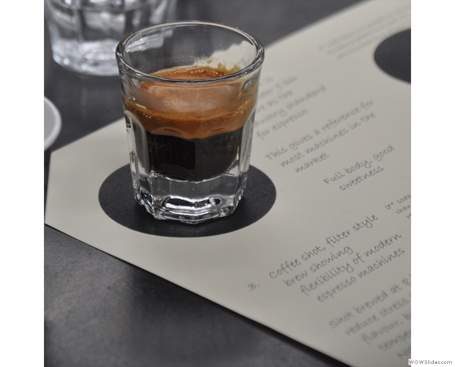 First up, a classic espresso shot: 19g in, 36g out.