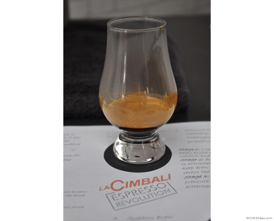 Next up, a pressure-profiled shot, served in a whiskey nosing glass.