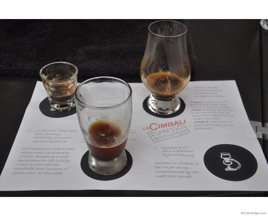 The cooled espresso, which was also extracted at a lower pressue of 8 bar, joins the set.