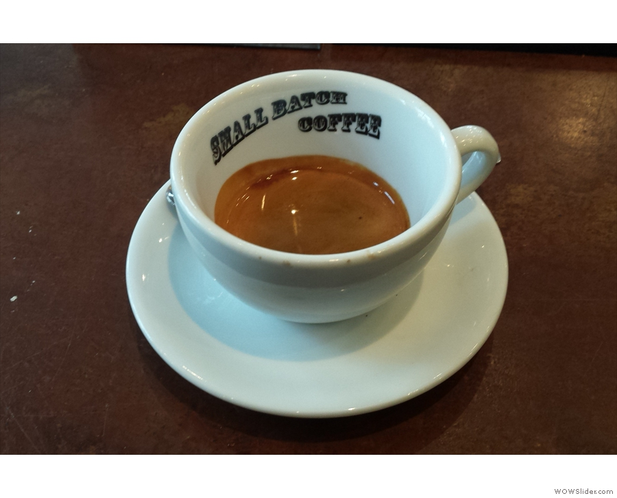 I decided to have an espresso, which came in an over-sized cup...