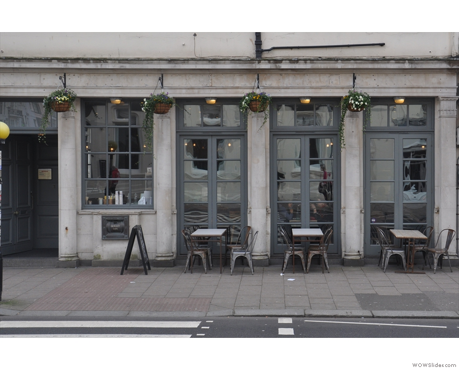 There's a choice of outside seating: these three tables on the Western Road itself...