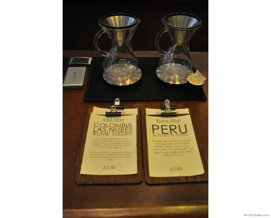 ... while details of the filter offerings are over on the brew bar. I rather fancied one of these, but the brew bar closes at four and I got there at five... Go me!