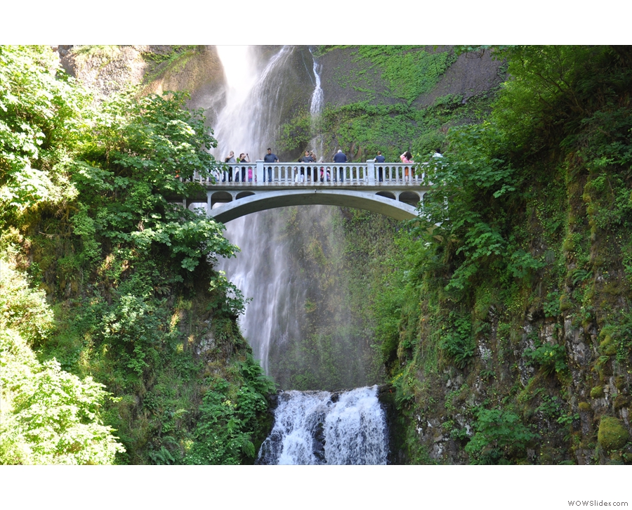 The falls are in two parts, with a bridge above the lower falls...