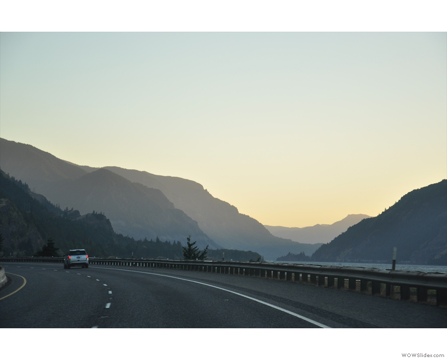 We drove back to Portland, all along I-84 this time, with sunset over the gorge as a backdrop.