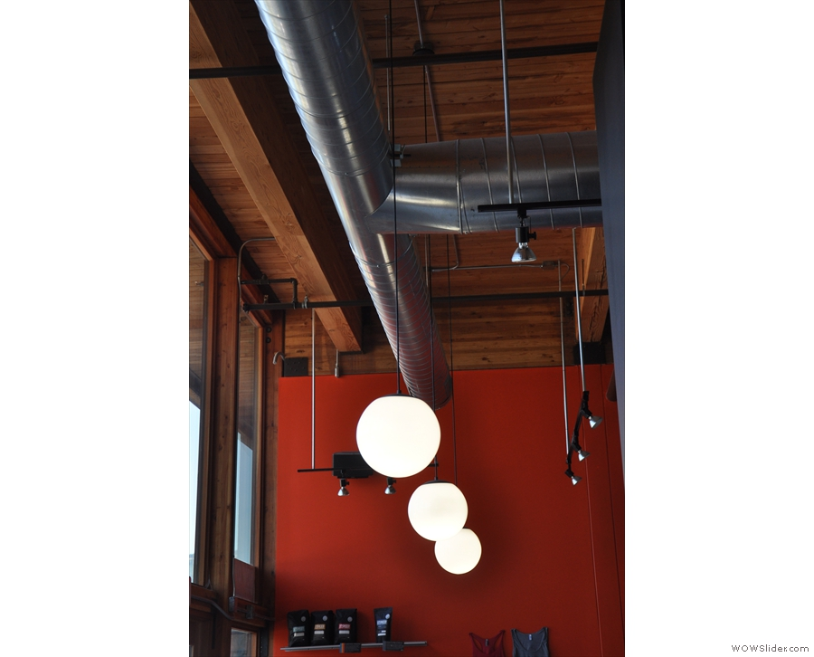 More lights hang above the counter.