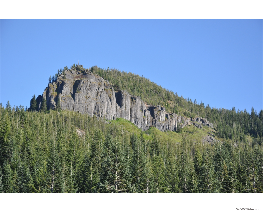 I loved this cliff face towering over the pines.