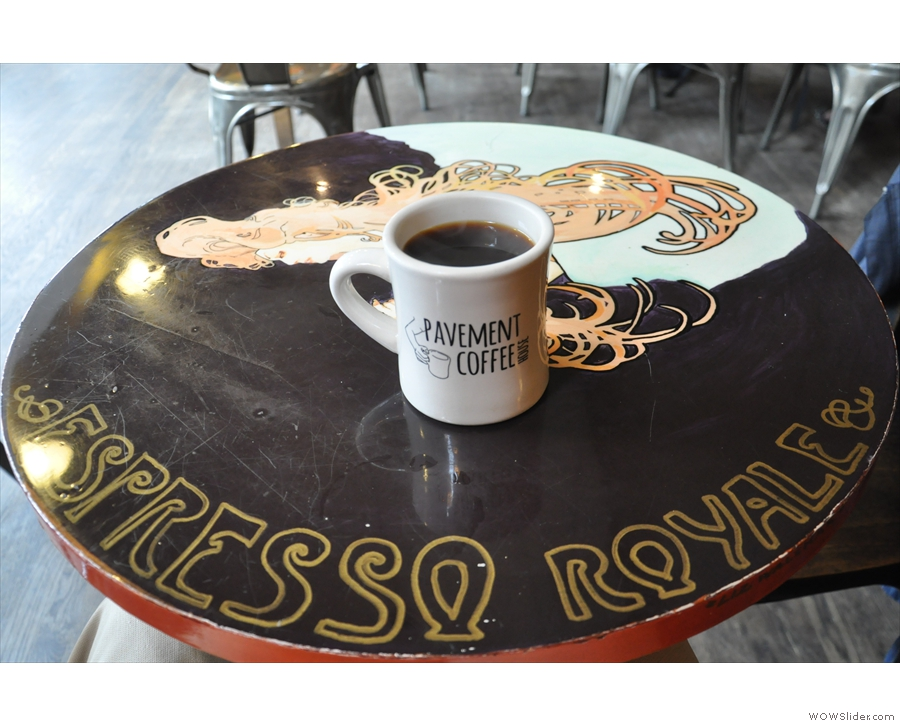 My coffee: the table, by the way, is from the now defunct Espresso Royale chain.