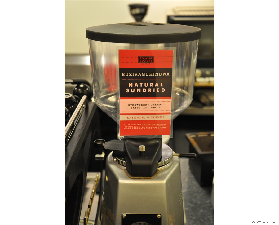 You know what coffee is on because the tasting notes are stuck to the grinder!