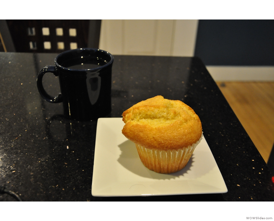 Finally, I had another pour-over (Gracenote Ethiopian) with a corn muffin on the side.