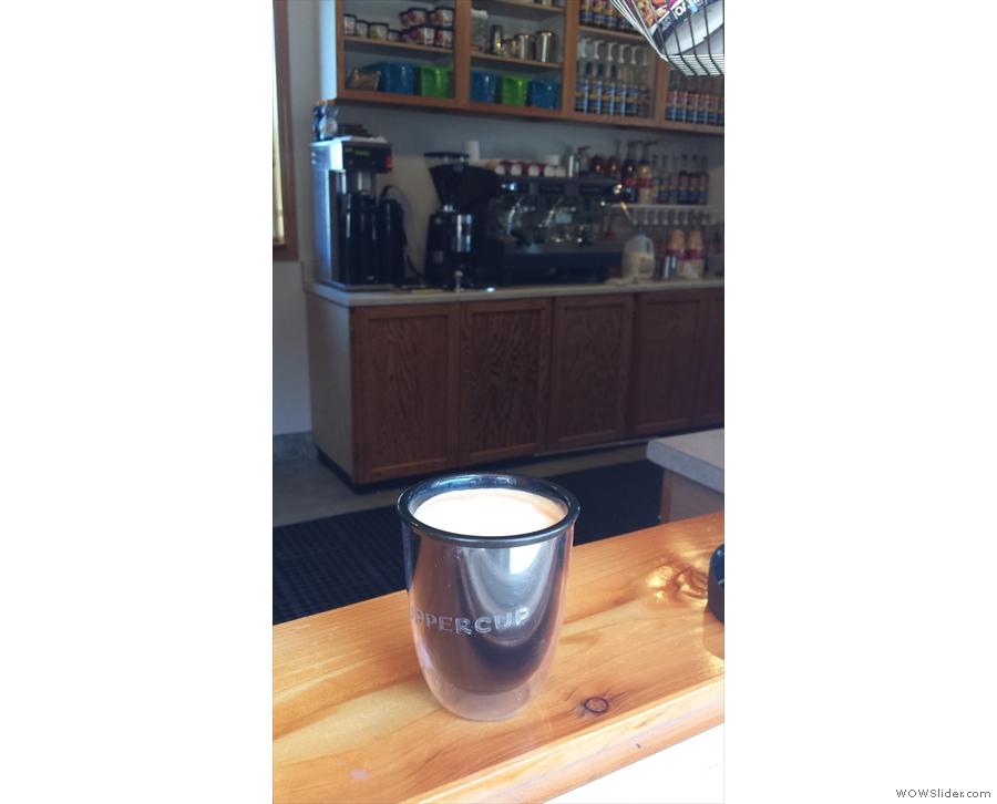Having got my coffee, Upper Cup surveys the interior of Jumpin' Jax.