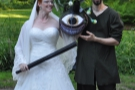 The piñata was made in the form of a beholder... Hang on! Why has Elisa got a baseball bat?