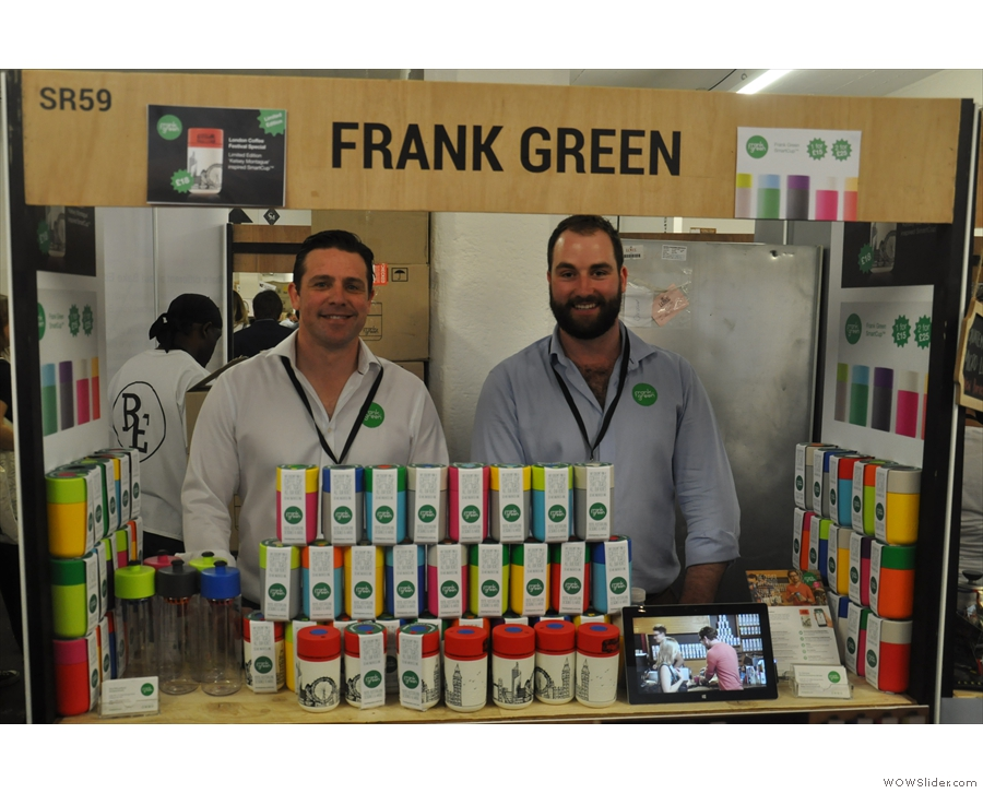 The other newcomer at the London Coffee Festival was Frank Green with its SmartCup.
