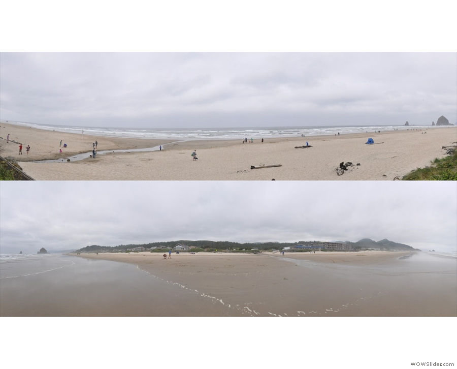A pair of panoramic views of the coast: top looking out to sea; bottom looking back inland.