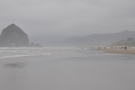 In theory, Cannon Beach is off over there somewhere, hidden in the fog.