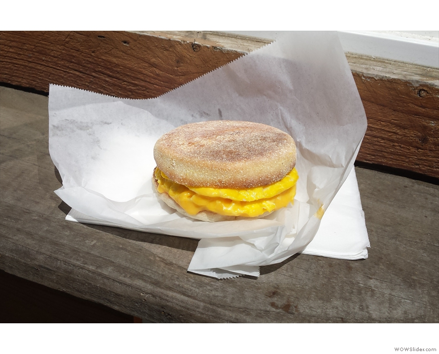 I also picked up an egg sandwich on an English muffin for lunch.