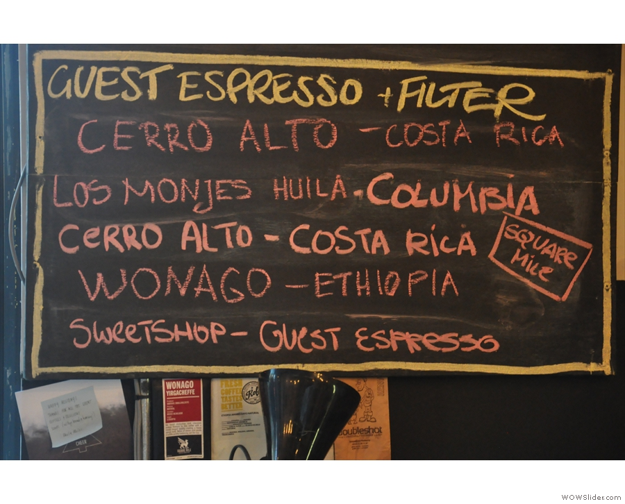 The guest espresso and (four) filter options are listed on the bottom.