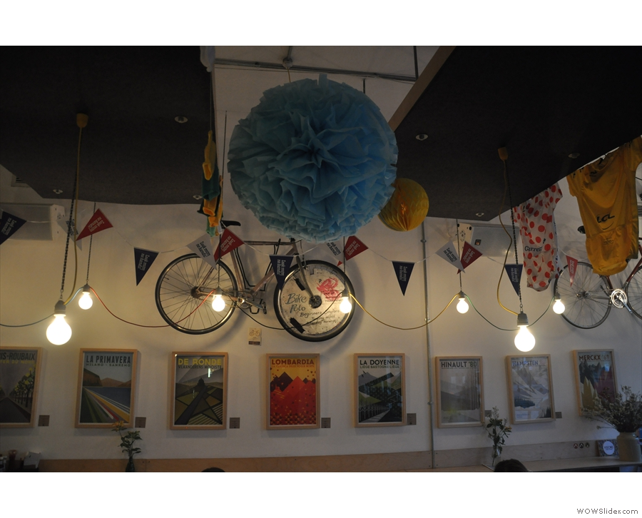 ... while these hang by the opposite wall, along with an obligatory bike.