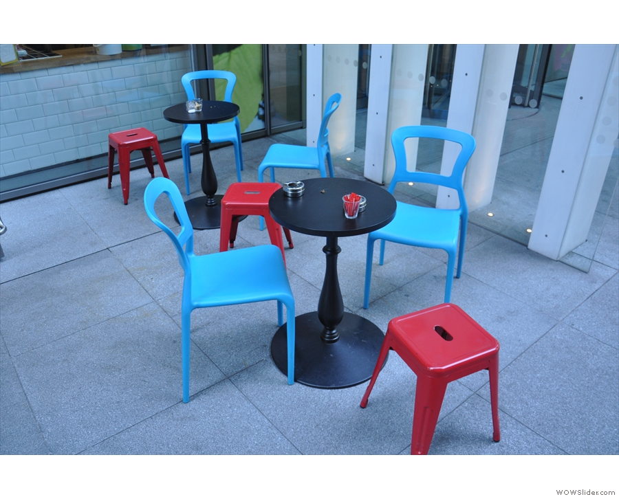 There's outside seating as well, either in the shape of these tables and chairs...