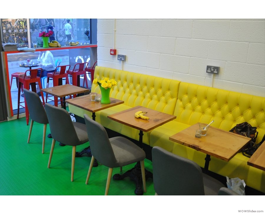 Another view of the seating and the padded, yellow bench. Beany's most comfortable yet?