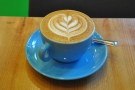 From my second visit, a lovely flat white, for once not in one of my takeaway cups...