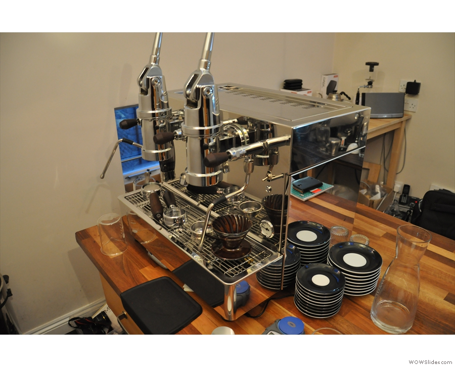 There are also espresso machines, such as this lovely lever machine...