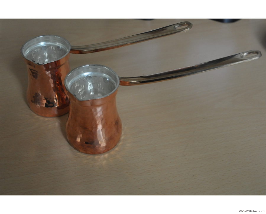 We start with our cezve, made from a singe sheet of copper and lined with silver.