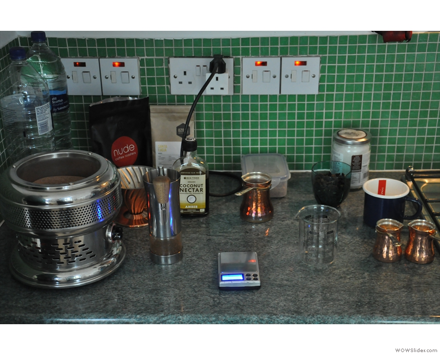 The rest of the kit: scales, grinder, water and various flavour-enhancers for later.