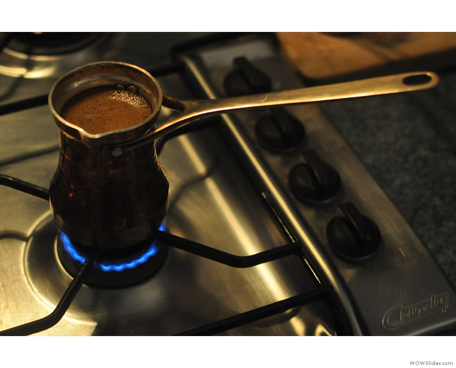 Another cezve goes on the stove. A lot of coffee was made that night.