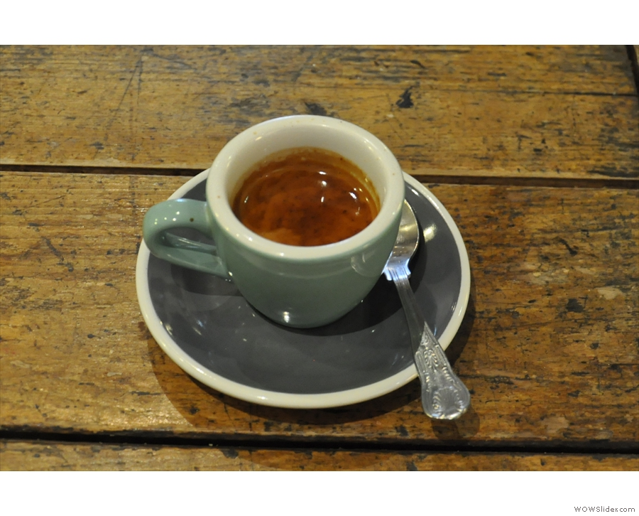 I'll leave you with a shot of my espresso, which was outstanding.