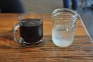 My lovely filter (Supersonic's Ethiopian Kilenso) with a jam jar of water, offered as standard.