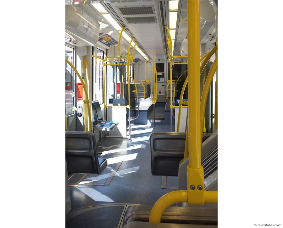 The interior of my shiny, new light rail car. Very spacious!