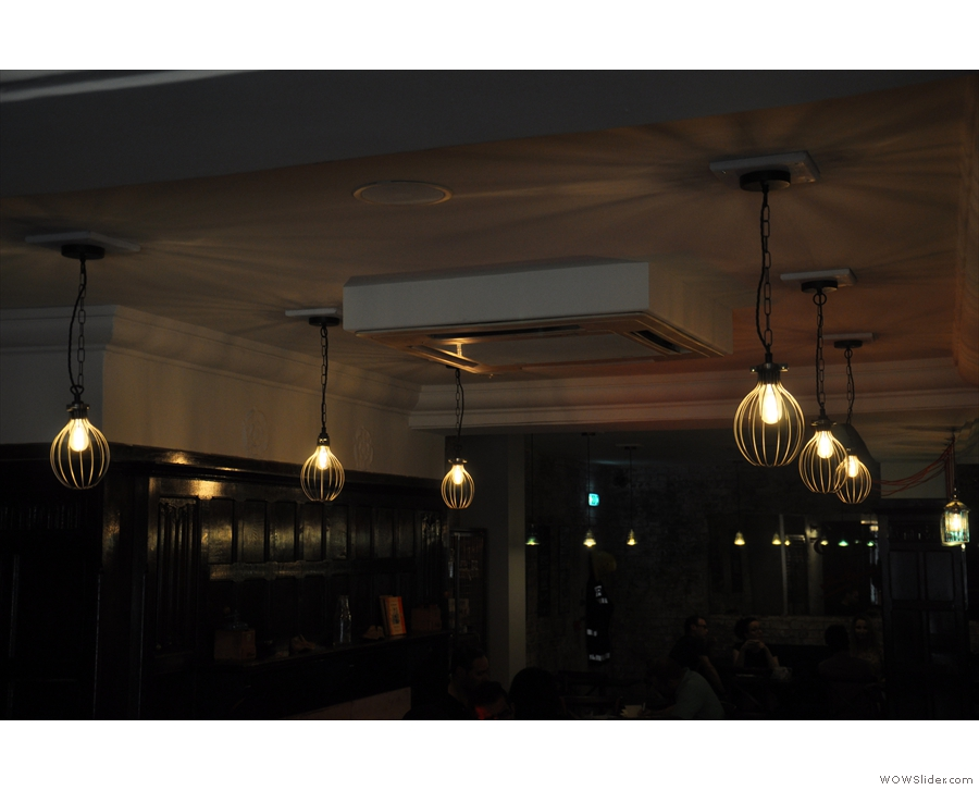 Since it's long, and low-ceilinged, it can get quite gloomy, so there are lots of lights...