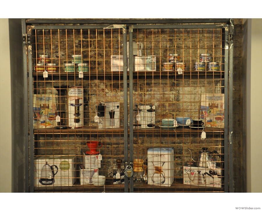 There's also plenty of coffee kit for sale. It's so dangerous, it has to be kept behind bars...