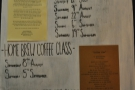 The noticeboard doubles as a schedule for the barista school.
