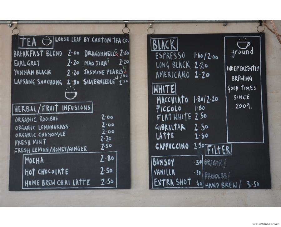 The tea and coffee menu.