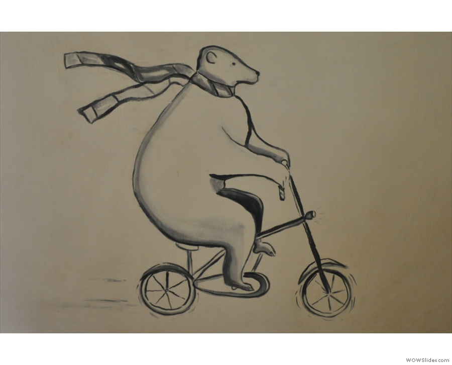 Something of a Marmaduke's mascot: the cycling bear!