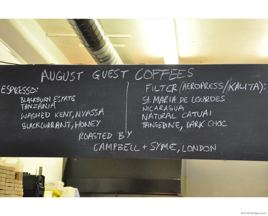 The guest beans are chalked up above the counter...