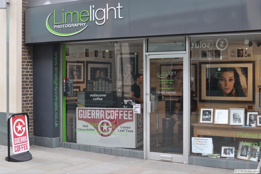 Tucked away inside the Limelight Photography Studios, you will find Guerra Coffee