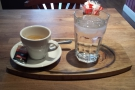 Here's one (Gordon) prepared earlier, an espresso, beautifully presented on a tray.